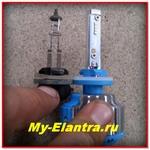 Светодиодные лампы в ПТФ на Hyundai Elantra HD - Проверено!