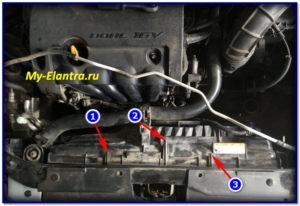 Крепление трубки ОЖ на вентиляторе