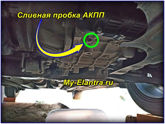 Расположение сливной пробки АКПП