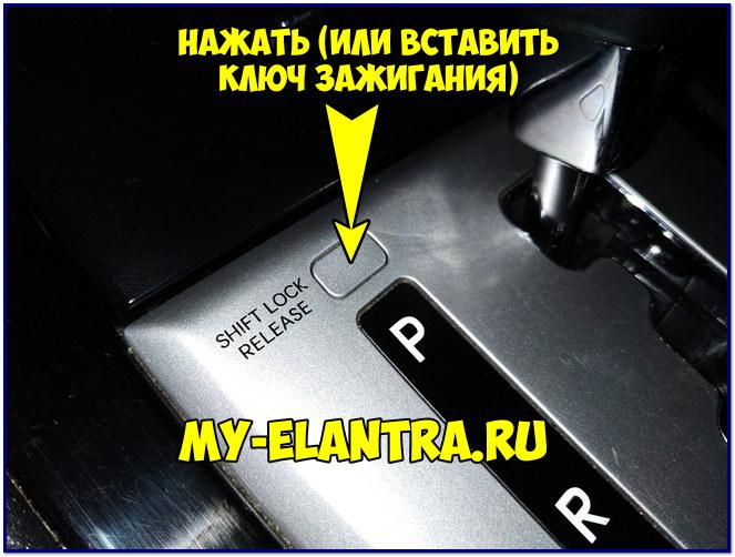 Нажатие кнопки Shift lock release