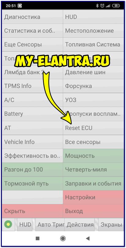 Выбор Reset ECU